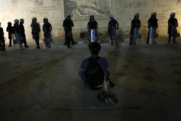 Protesten tegen bezuinigingen op het Syntagmaplein, Athene (2015)